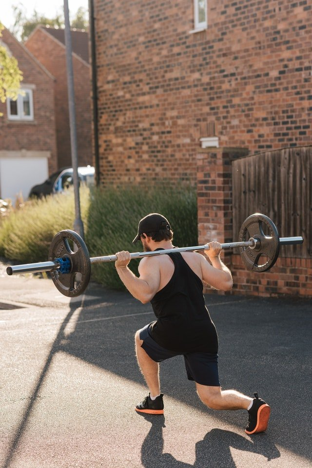 Lunge Press with a Barbell